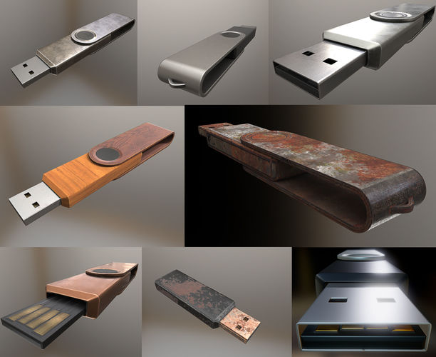 usb stick collection - gameready - pbr textures 3d model low-poly rigged animated obj mtl 3ds fbx dxf stl blend 1
