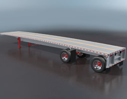 3D model Aluminum Flatbed Trailer