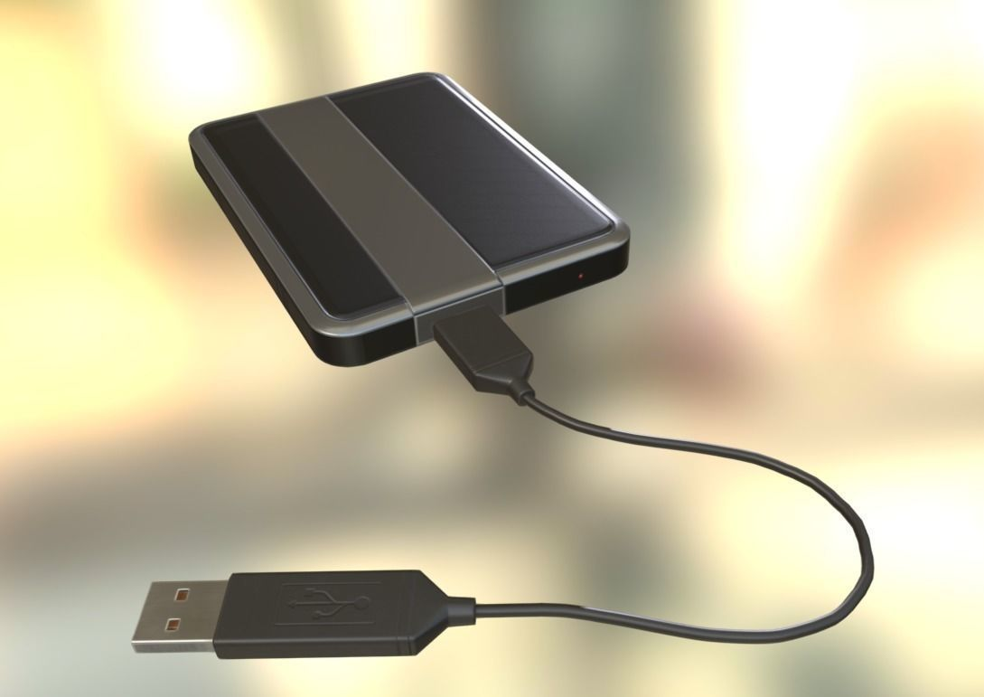 External HDD With USB Cable Rigged Dark Silver Version