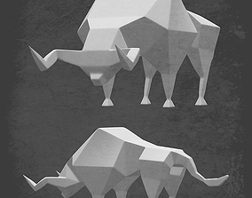 Stylized low-polygon bull model realtime
