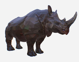 Rhino Low Polygon Art Animal 3D model game-ready