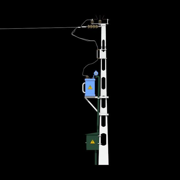 Voltage transformer on pole