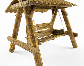 Multiple Seats Wooden Swing with Roof 4 3D