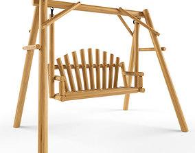 Multiple Seats Wooden Swing 2 3D model