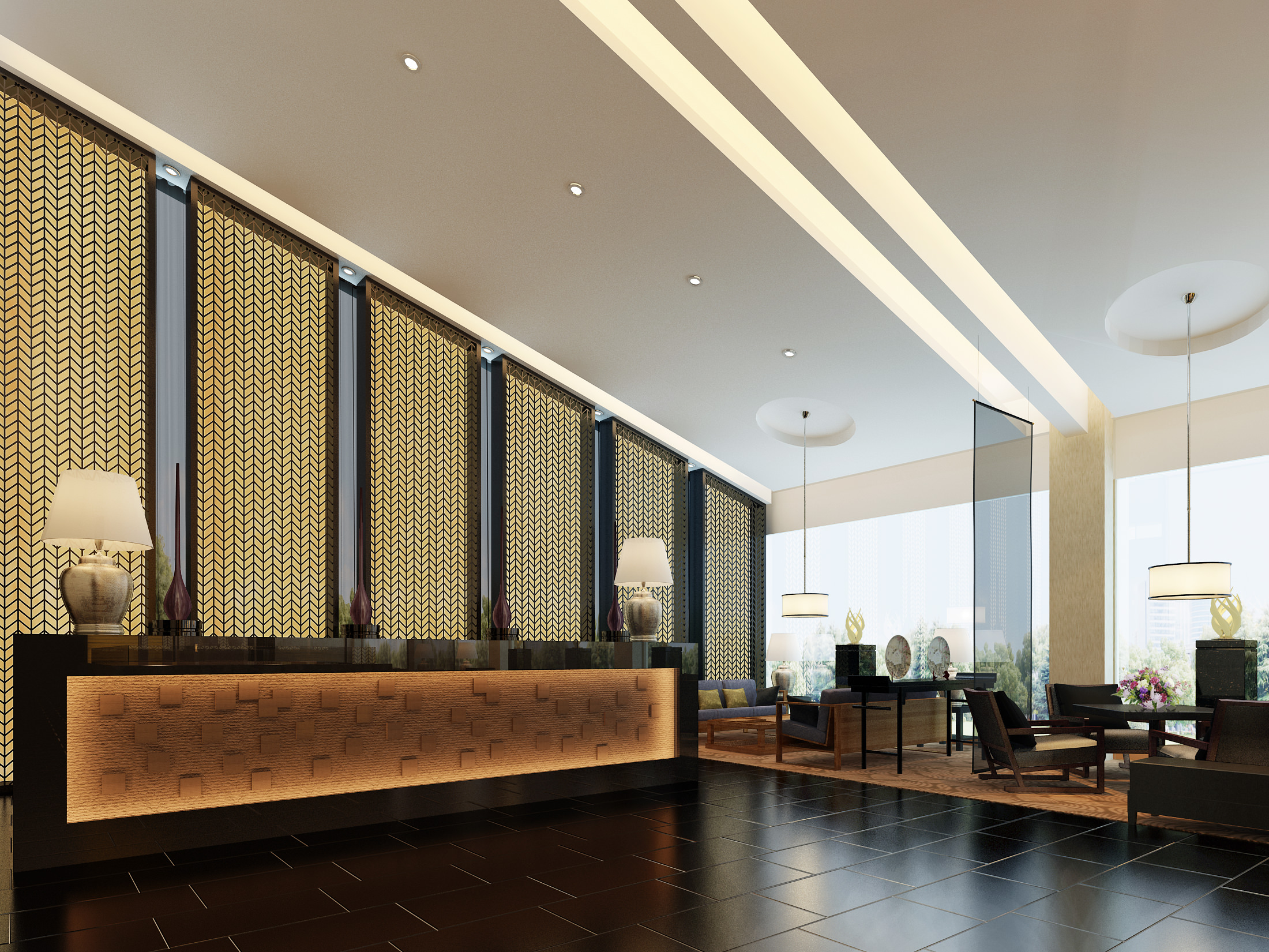 Hotel Entrance Foyer : Posh foyer with exotic desk d cgtrader