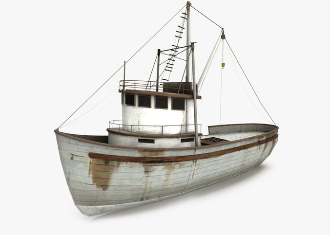 fishing boat 3d model low-poly max obj 3ds fbx ma mb dae 1