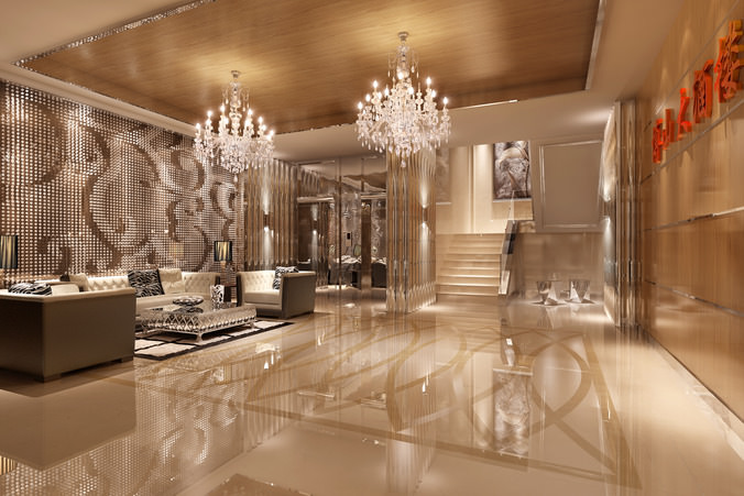 Foyer with luxury wall decor 3d cgtrader for Hotel decor items