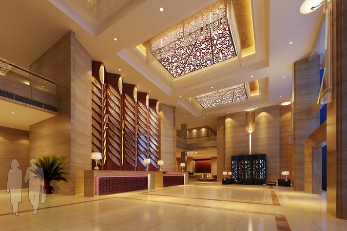 Luxury lobby with elegant ceiling decor 3d model for 3d decoration models