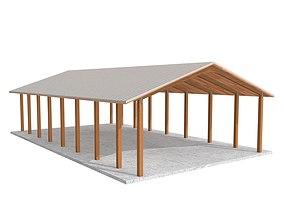 3D asset Wooden shelter 01