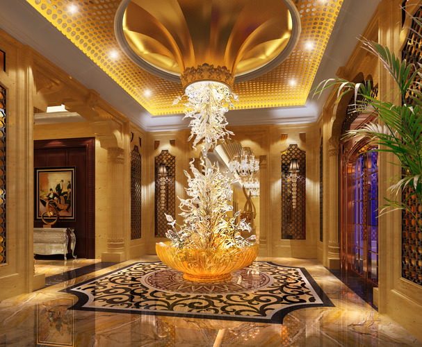 3d model foyer with exquisite floor decor cgtrader for Hotel decor items