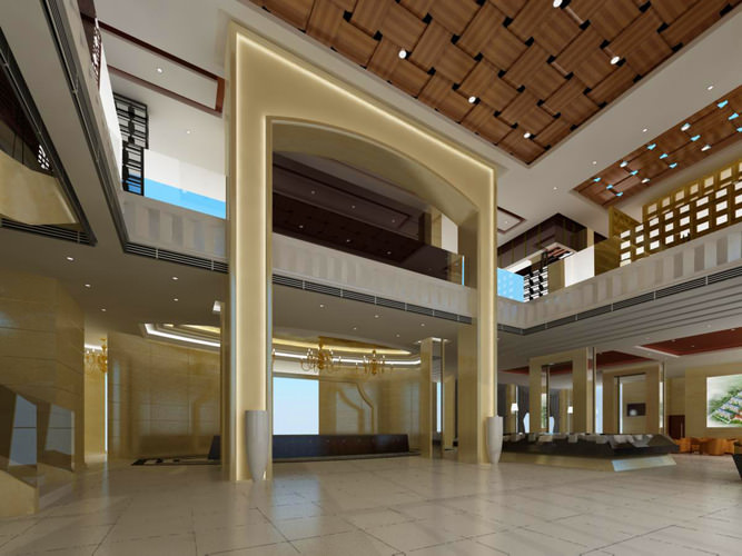 Foyer Ceiling Jobs : D spacious foyer with ceiling decor cgtrader