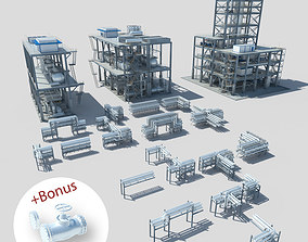 Industrial factory environment pipeline 3D model