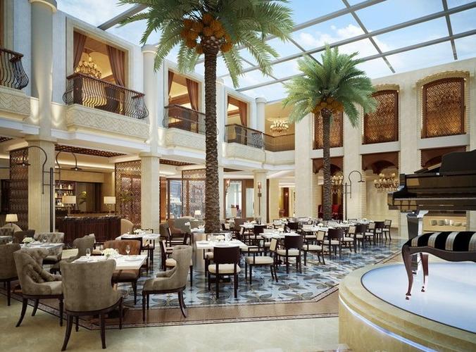 exquisite tavern interior with posh floor 3d model max 1