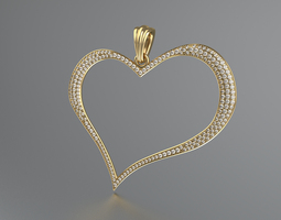 pendant heart 3d model stl 3dm