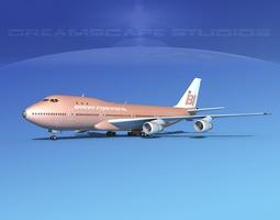 Boeing 747-100 Jumbo Jet Braniff Intl 3D model