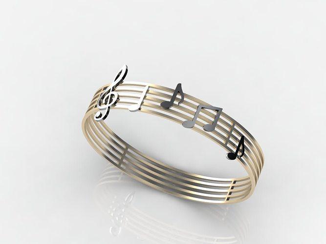 music notes bracelet 3d model 3dm 1