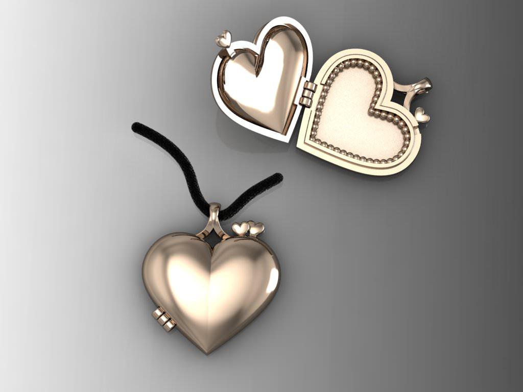 Heart Pendant Picture Frame 2Parts 3D Model 3D Printable