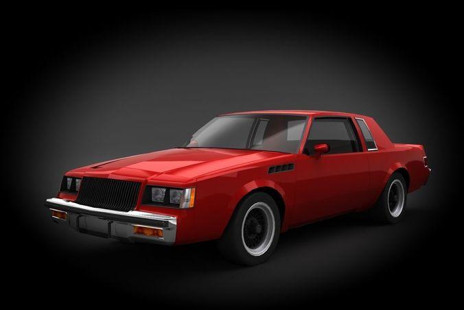 buick regal gnx 1987 3d model low-poly max obj mtl fbx 1
