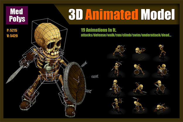 skeleton warrior 3d model low-poly rigged animated max 1
