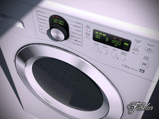 washing machine 3d model max obj 3ds fbx c4d dae 1