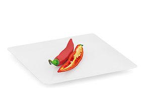 Chilli Pepper on White Plate 3D model