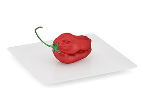 Habanero Chilli on White Plate 3D model
