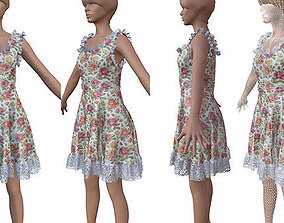 3D model game-ready Dress cloth