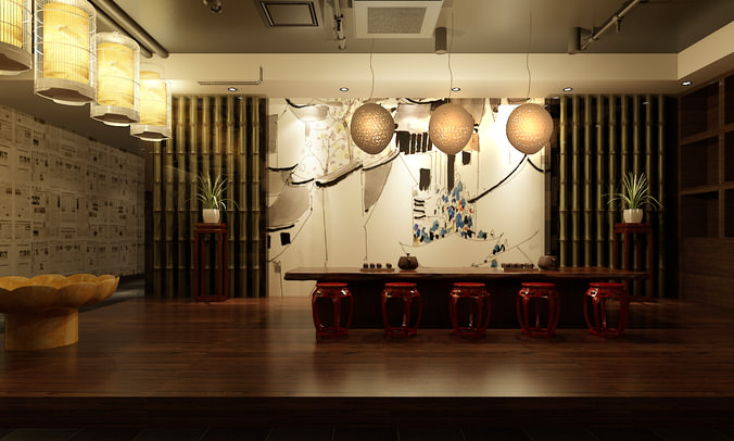 D high end bar with artistic walls cgtrader