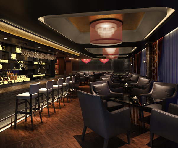 posh bar with exotic chandeliers 3d model max 1