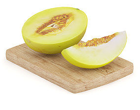 Halved Yellow Melon on Wooden Board 3D