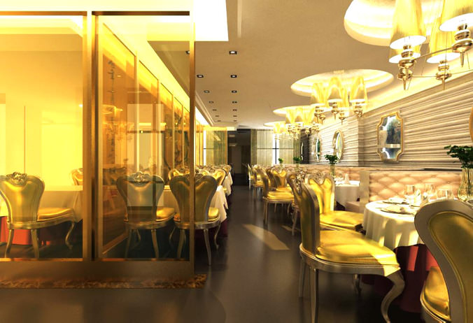 D restaurant with classy glass interior cgtrader