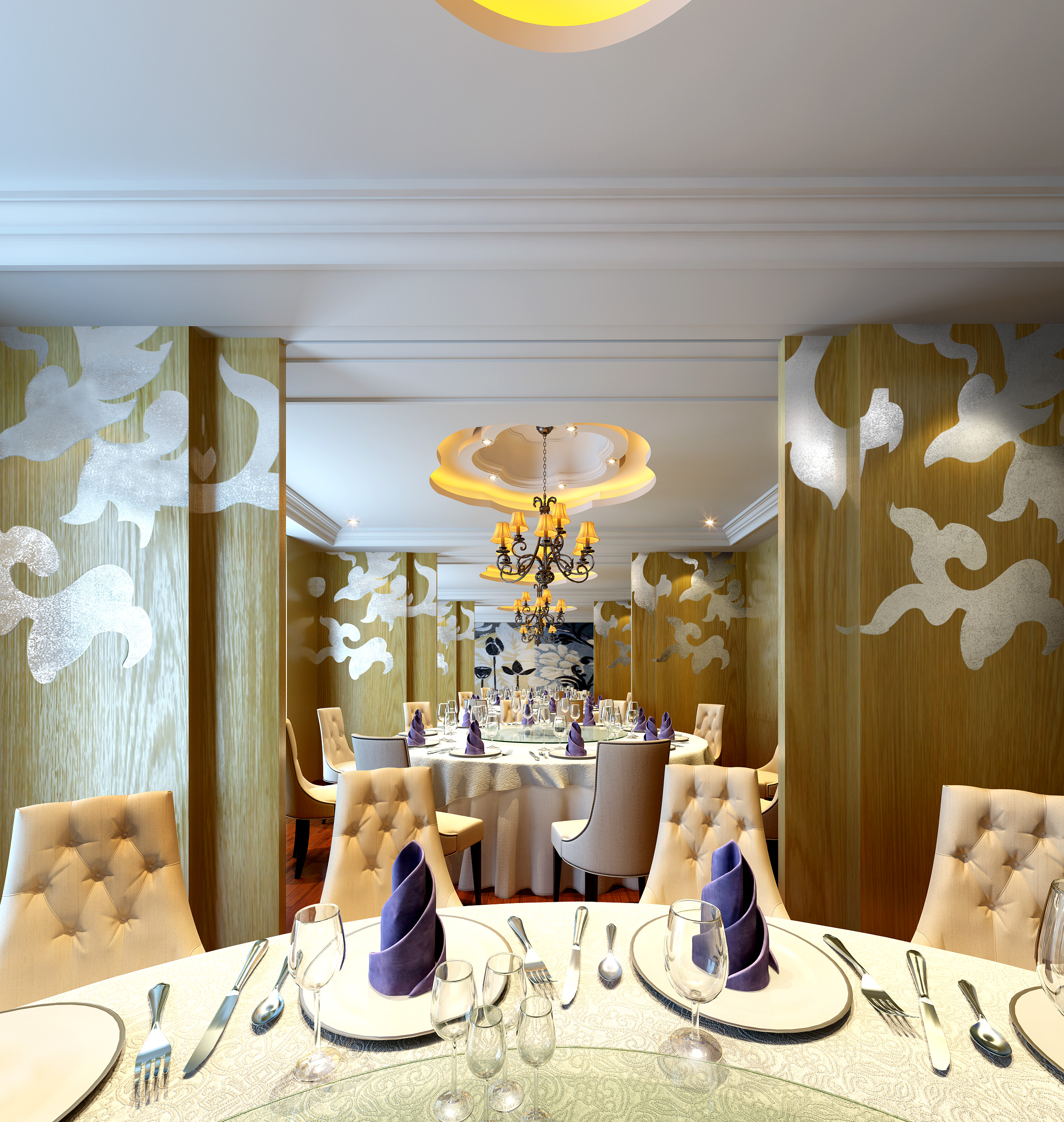 High-end Restaurant with Exquisite Wall Decor 3D model MAX