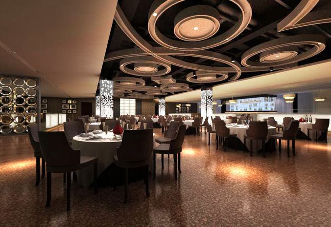 High End Restaurant With Marble Floor 3d Model Cgtrader