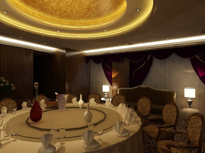 high-end restaurant with modern ceiling 3d model max 1