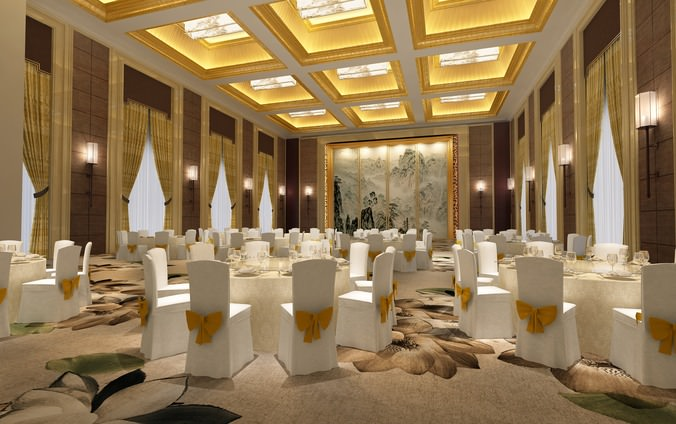 D spacious and luxurious restaurant cgtrader