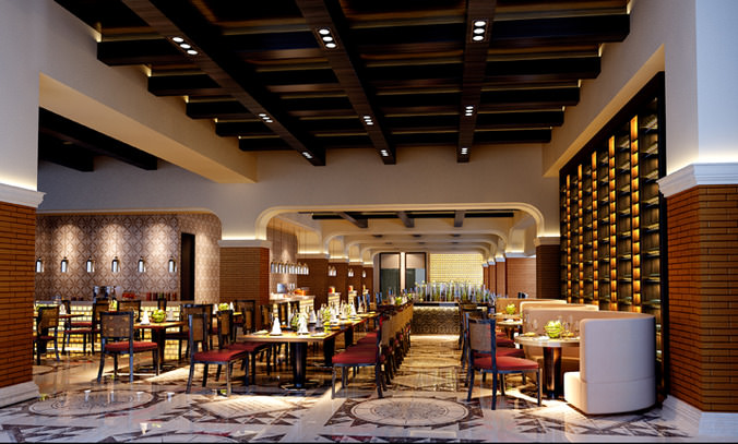 High end restaurant with wooden ceiling decor d model max