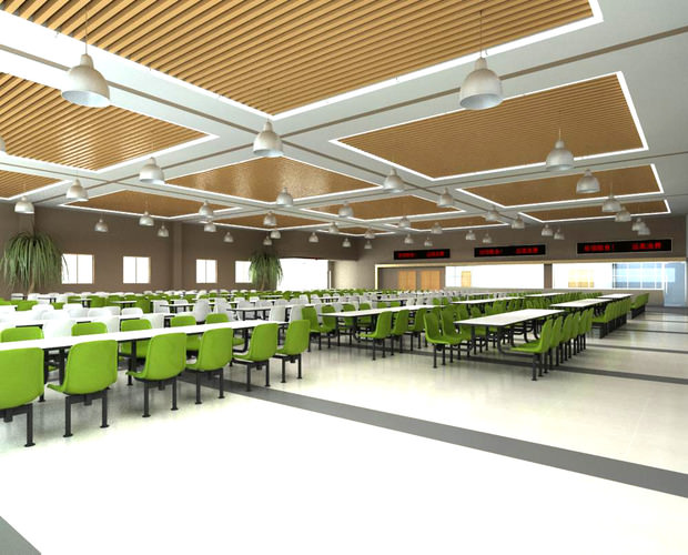 Canteen with high end ceiling decor 3d cgtrader for Decor 3d model