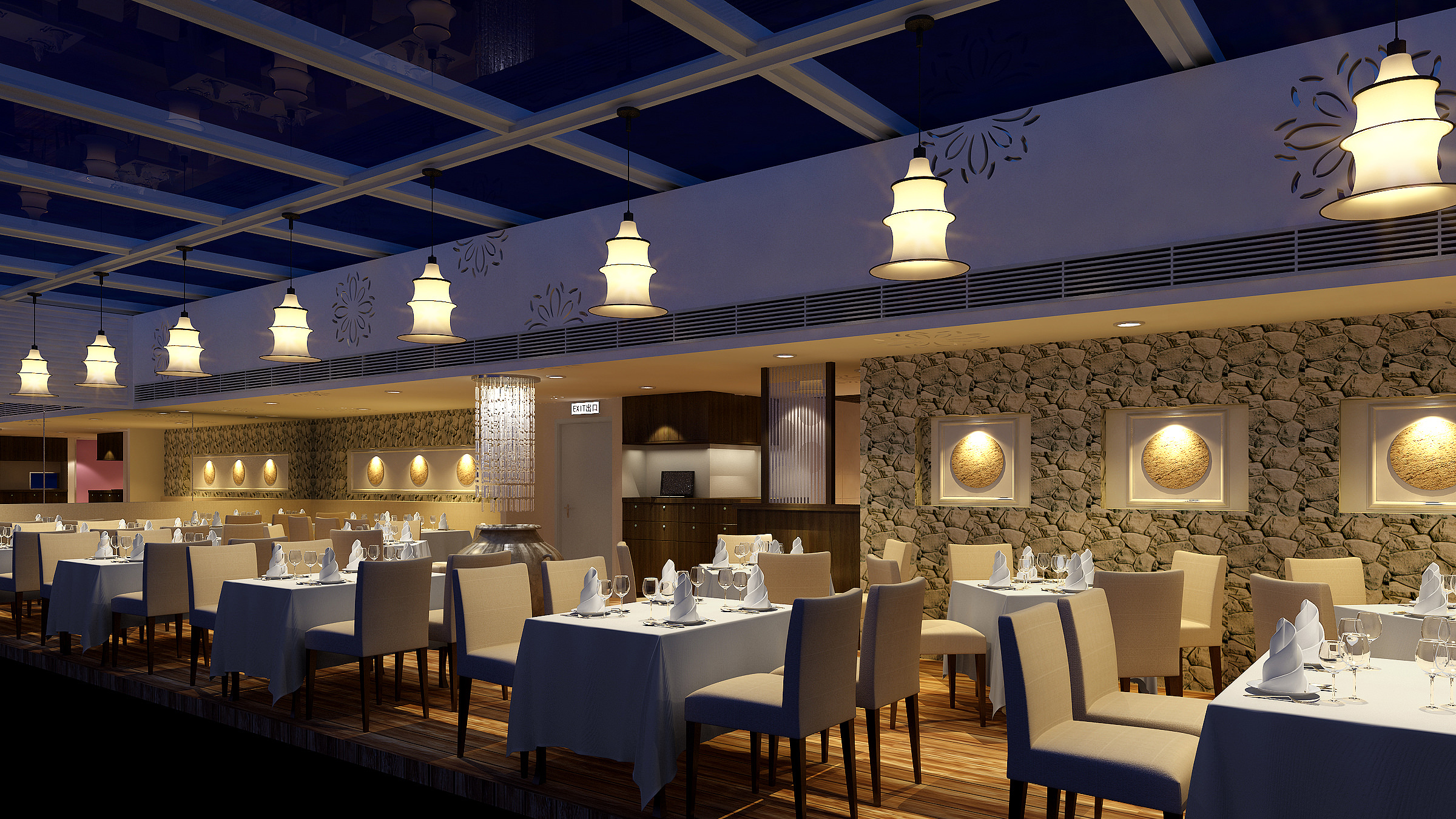 luxury restaurant with high-end wall decor 3d model max