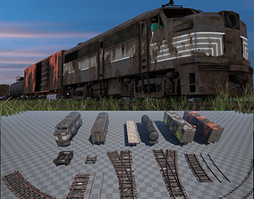3D asset Abandoned Train Pack - Game Ready