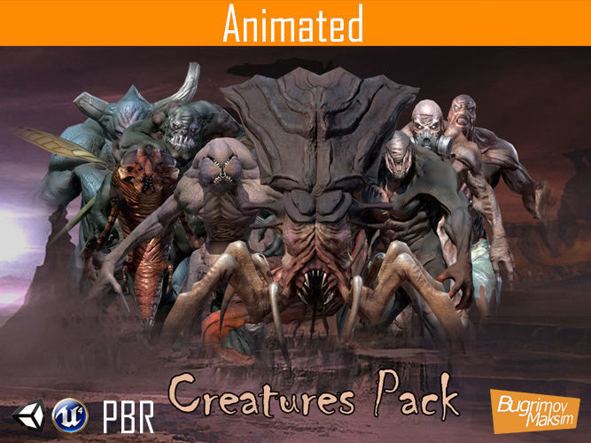 pbr creatures pack 3d model low-poly animated obj fbx tga 1