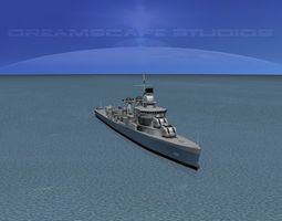 rigged sumner class destroyer  dd695 uss cooper 3d model