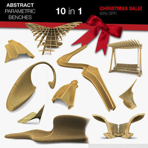 parametric abstract wood benches 10 in 1 collection 3d model max obj mtl 3ds fbx c4d dae 1