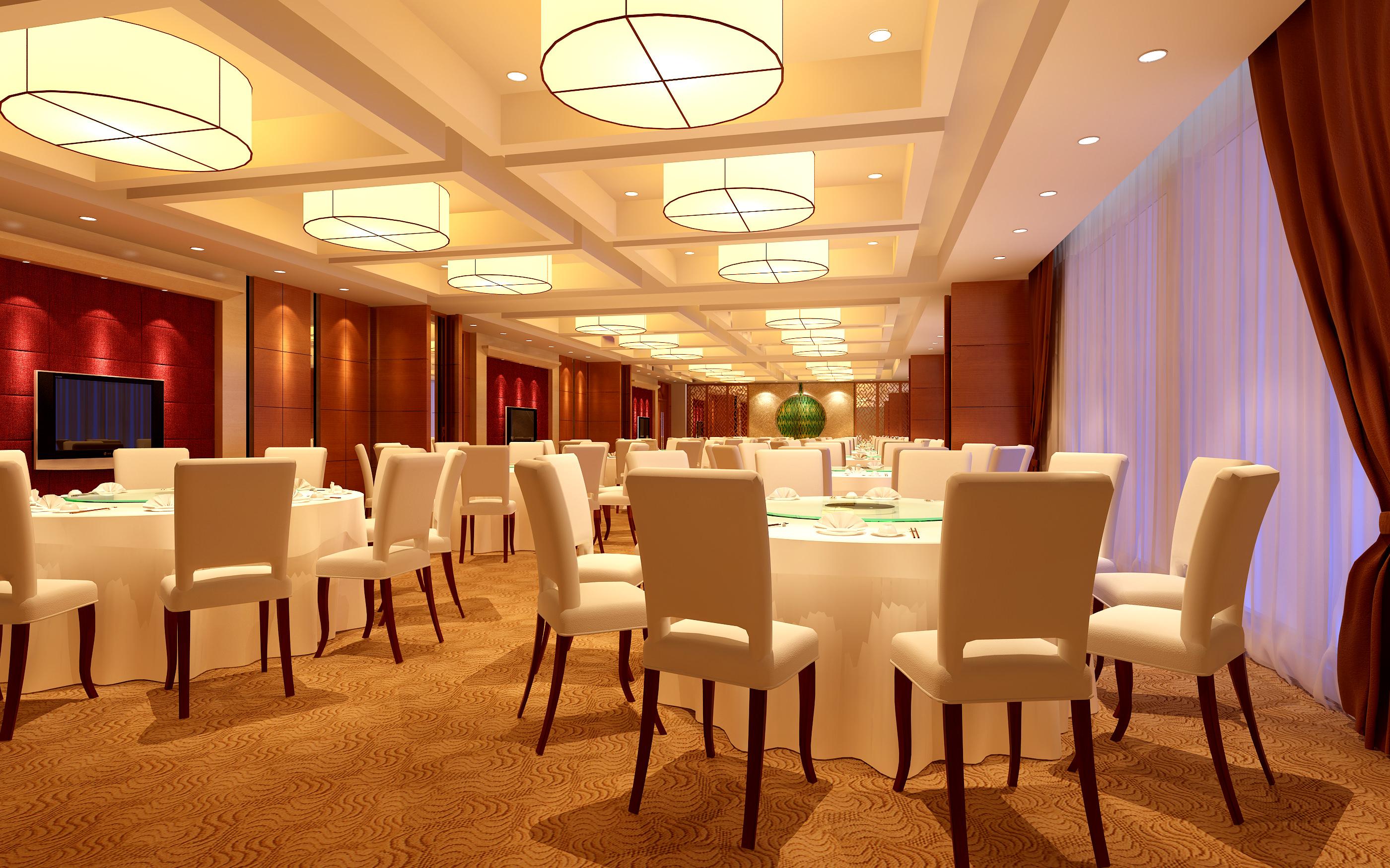 Luxury restaurant furniture - Luxury Restaurant With White Furniture 3d Model Max 1