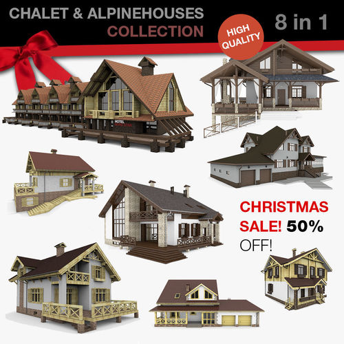 chalet and alpine houses 8 in 1 collection 3d model max obj mtl 3ds fbx c4d 1