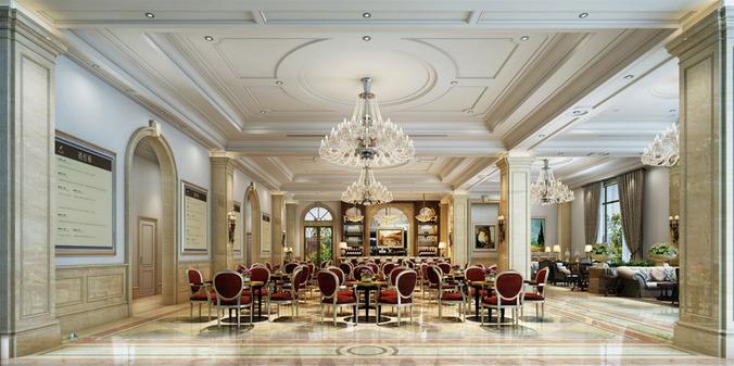 Luxury Restaurant With Classy Chandelier 3d Model Max Obj Mtl