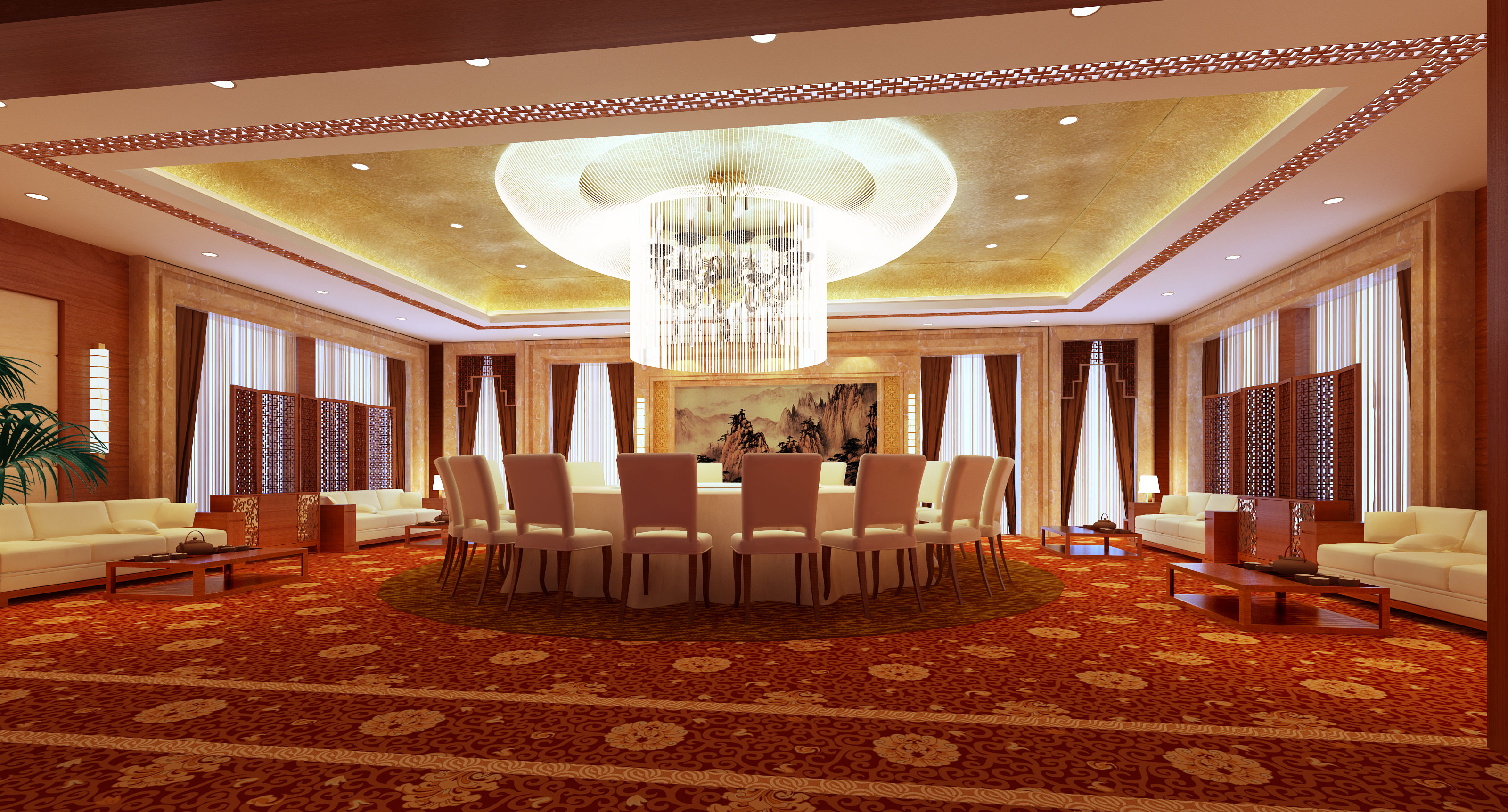 exotic restaurant with high-end floral carpet 3d model max