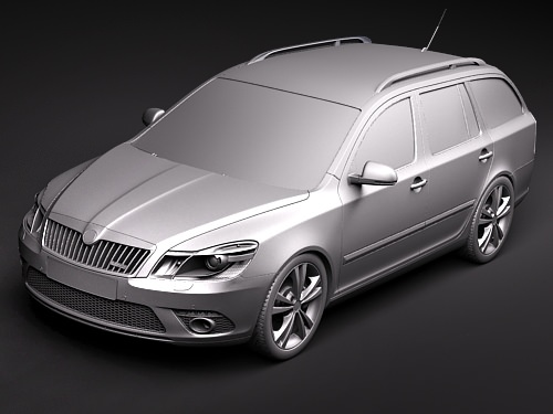 skoda octavia rs combi automobile 2010 3d model max 3ds 12