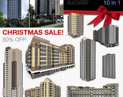 3D model Residential Apartment Buildings 10 in 1