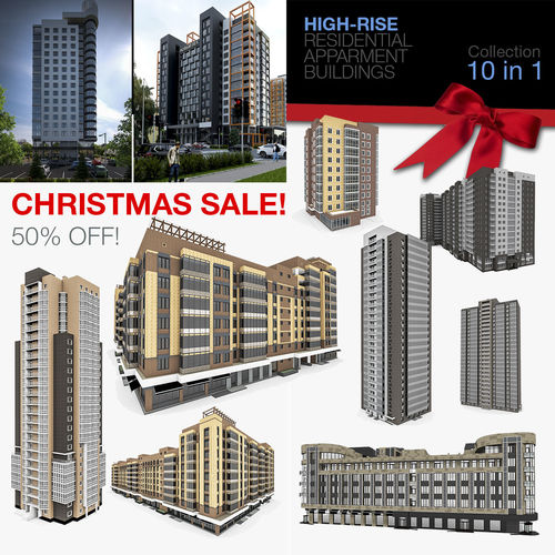 residential apartment buildings 10 in 1 collection 3d model max 3ds fbx c4d 1