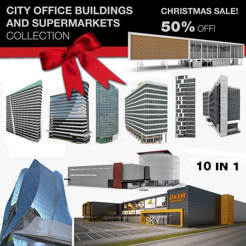 city office building 10 in 1 collection 3d model max obj mtl 3ds fbx c4d 1